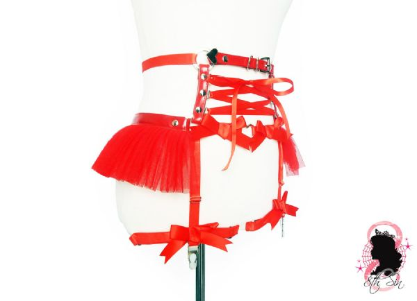 Red Faux Leather Corset Garter Belt